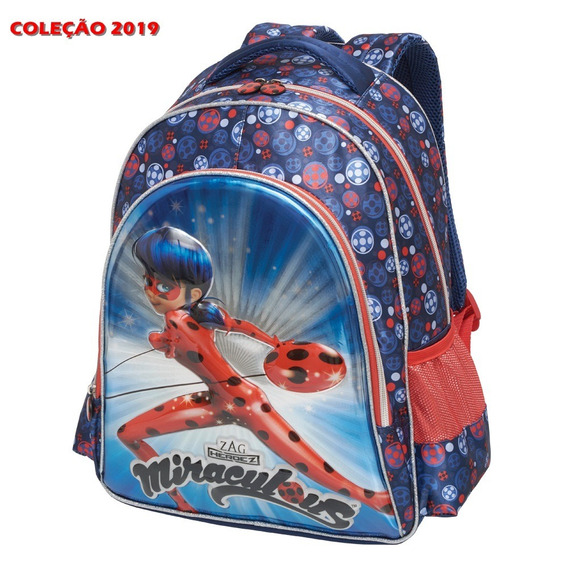 Mochila Feminina Ladybug Miraculous Infantil Escolar 2019