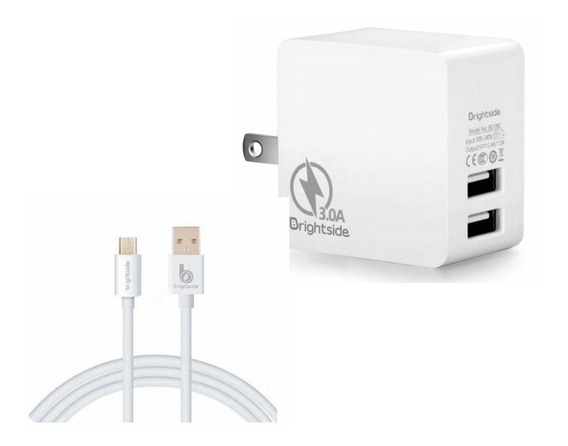 Cargador Brightside Doble Puerto Usb +cable Microusb (v8) 3a