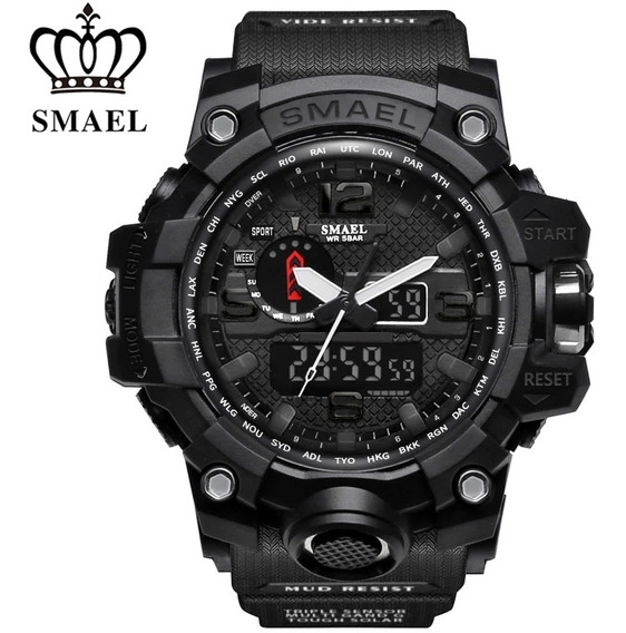 Relógio Smael 1545 Preto Esportivo A Prova D