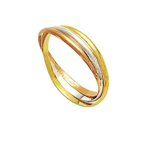 C317 - Aliança Entrelaçada De Ouro, Ouro Vermelho E Ouro Br