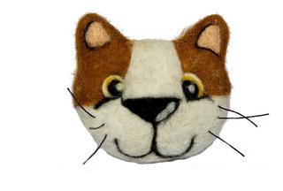 Prendedor De Gato En Fieltro Agujado - Broche De Gato