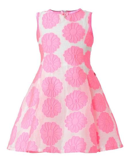 Vestido Niña Fiesta - Flores Rosa Neon Talla 4, 6, 8, 10 (importado- Nuevo Con Etiquetas)