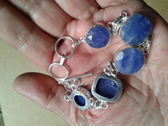 Pulseira Bracelete Indiana Prata Pedra Azul Safira Natural