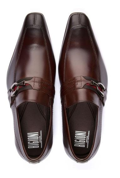 Sapato Social Masculino Solado De Couro Bico Fino Com Fivela