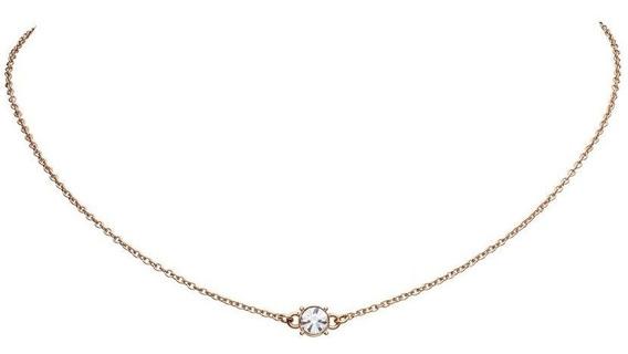 Collar Con Dije Diamond Plata .925 Con Baño En Oro Rosa