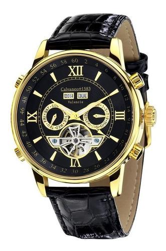 Relógio Calvaneo 1583 Valencia Gold Shinyblack Automático