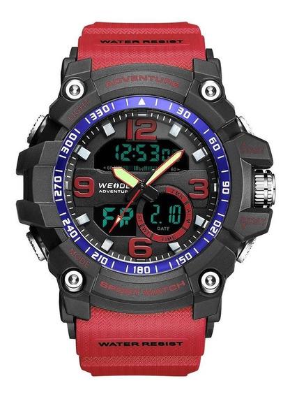 Relógio Masculino Weide Anadigi - Vermelho E Preto Original