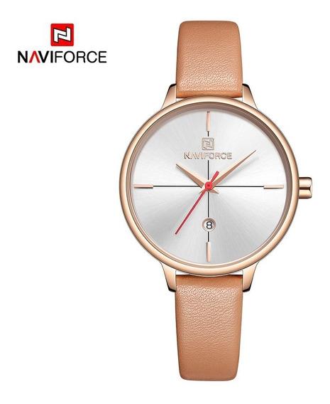 Relógio Feminino Naviforce 5006 Quartz Slim Bege Novo