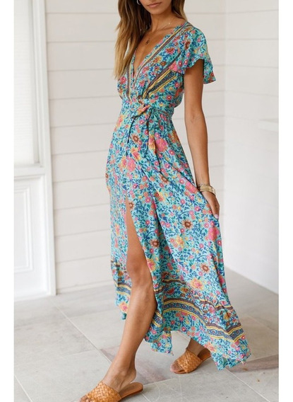 Verano Abrigo Maxi V Cuello Floral Flowy Vestido