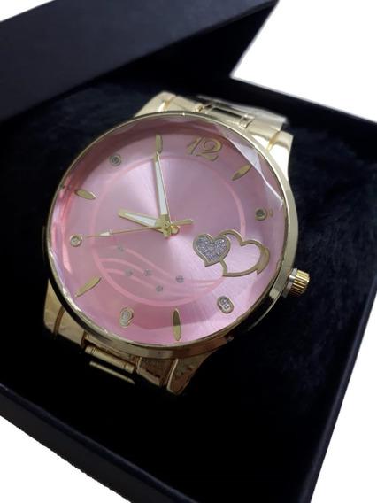 Relógio Dourado Feminino Com Caixa Presente De Natal Amor