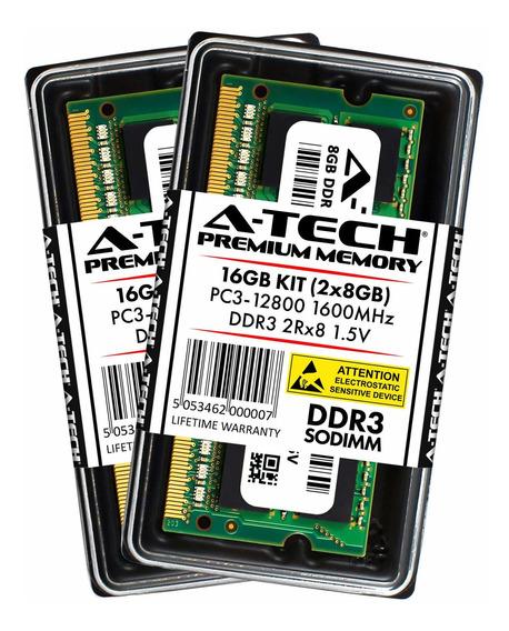 Memoria Ram 16gb A-tech Kit (2x 8gb) Ddr3 1600mhz Pc3-12800 2rx8 1.5v 204-pin Sodimm Computer Modules