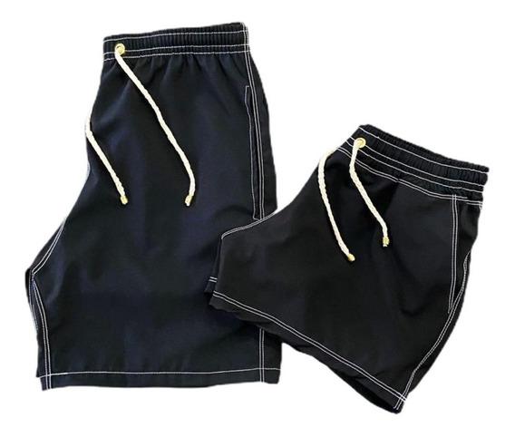 Kit Com 2 Shorts Masculino E Feminino Conjunto Casal Praia