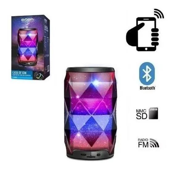 Caixa De Som Bluetooth Cristal Galaxia Led Rgb Portátil Usb