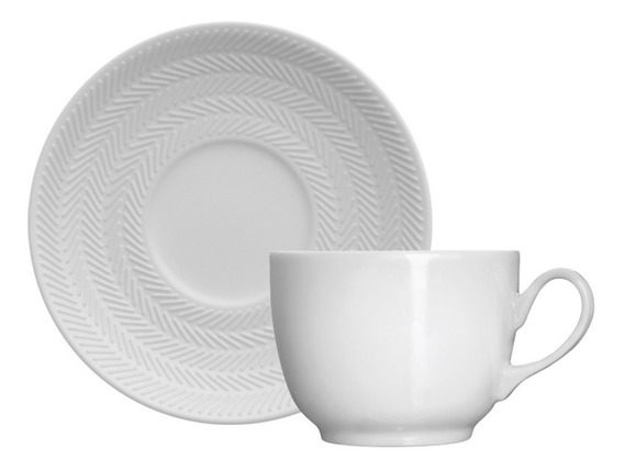 Xícara Para Chá Em Porcelana Germer Chevron Branca