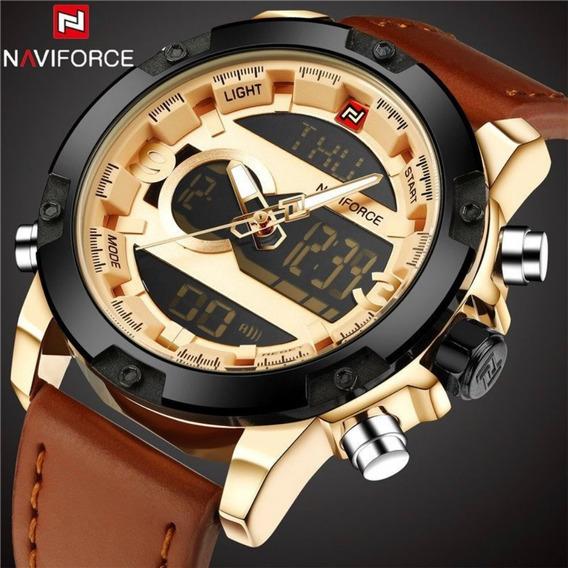 Relógio Masculino Naviforce 9097 Original Couro + Caixa