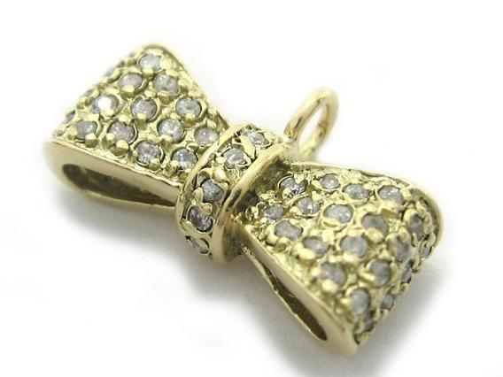 Joianete E9019-10064 Pingente Laçinho Ouro Cravejado Pedras