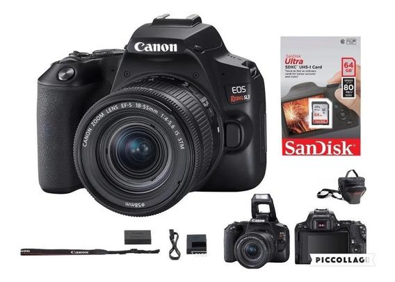 Câmera Canon Eos Rebel Sl3 C/ 18-55mm+64g Sd+bolsa