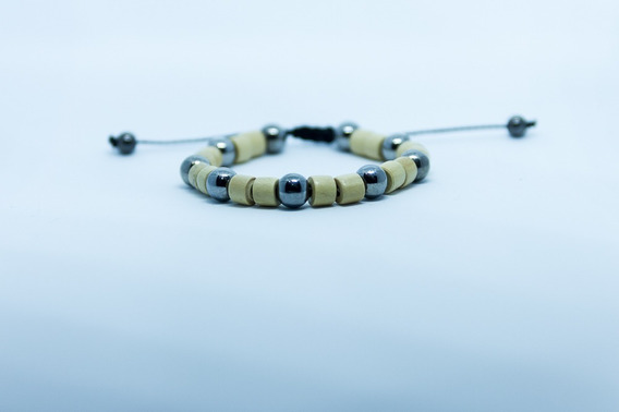 Pulseira Bracelete Masculino Feminino Ráfia Prata Marfim
