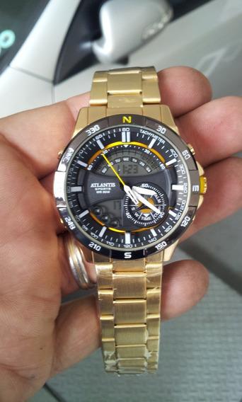 Relógio Atlantis Fantasy Dourado - Original, Box Acrílico
