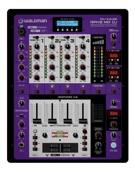 Dj Mixer Profissional De 5 Canais Waldman - Rdj-5.2usb