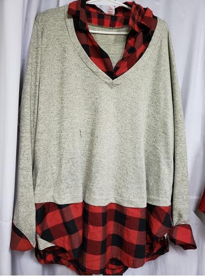 Camisa Viyela Con Sweater Lanilla Superpuesta T 10