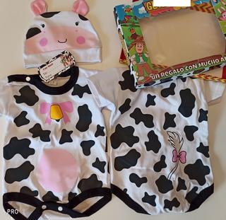 Conjunto Disfraz Bebe Unisex Animalitos Body Vaca Leon Tigre