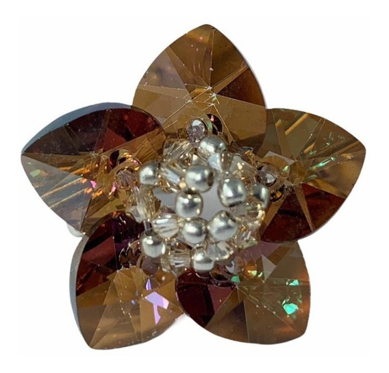 Anillo Cristal Swarovski Elements Color Topaz Estandar