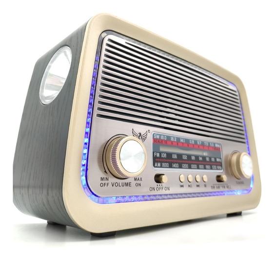 Rádio Retro Vintage Am Fm Usb Bateria Recarregavel Bluetooth