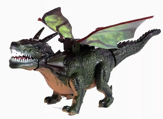 Dragão/dinossauro C Luz Que Bate Asas, Emite Som, Anda