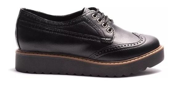 Zapato Savage Dama Acordonado Picado Ecocuero Moda Jm55
