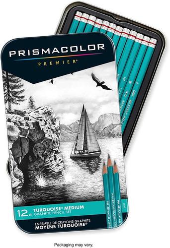 12 Lapices Grafito Prismacolor Turquoise Medium Graphite