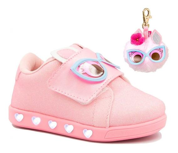 Tênis Casual Infantil Menina Pampili Com Led Luz Baby Fun Sneaker Colonelli 165073