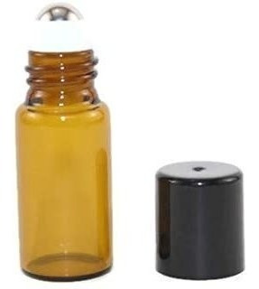 Usa 144 Amber Glass Mini Frascos De Vidrio Roll-on De 3 Ml C