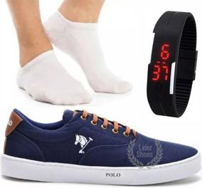 Tenis Masculino Polo Joy Sapatenis Com Meia Relógio Digital