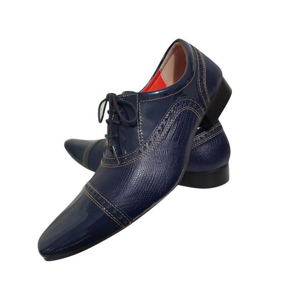 Sapato Masculino Em Couro Verniz Com Frisado Azul Ref: 700