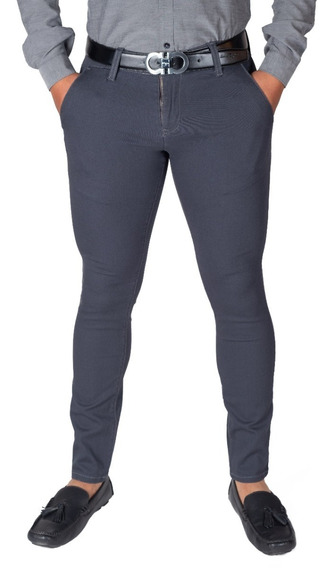 Pantalón Casual De Vestir Skinny De Gabardina Stretch Hombre