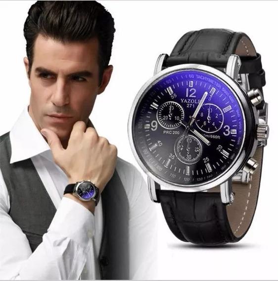 Relógio Luxo Masculino Yazole-pulso Social Pulseira -couro