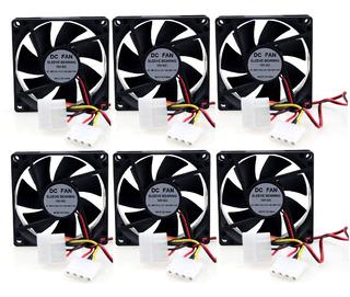 6 Undades Ventilador Fan Case 8cms X8cms X2.5cms 12v Dc Pc