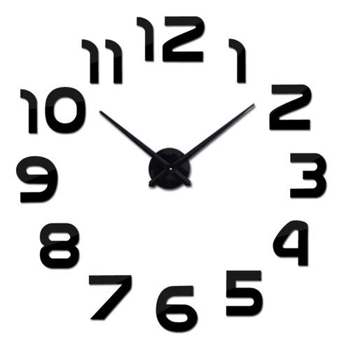 Reloj De Pared 3d Tamaño 100 X 100 Cm Color Negro