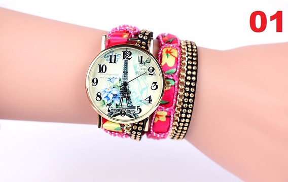 Relógio De Pulso Feminino Geneva Pulseiras De Luxo.