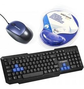 Kit Mouse, Teclado E Mouse Pad Azul/pto Arcticus