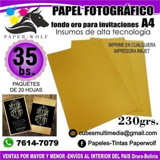Papel Fotográfico A4 230grs Dorado