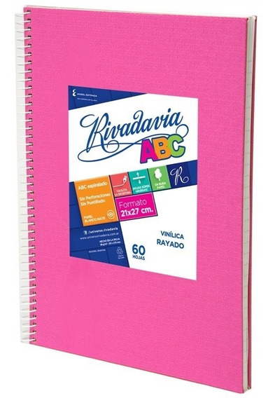 Cuaderno Rivadavia Abc Espiralado X60h Rayado Rosa