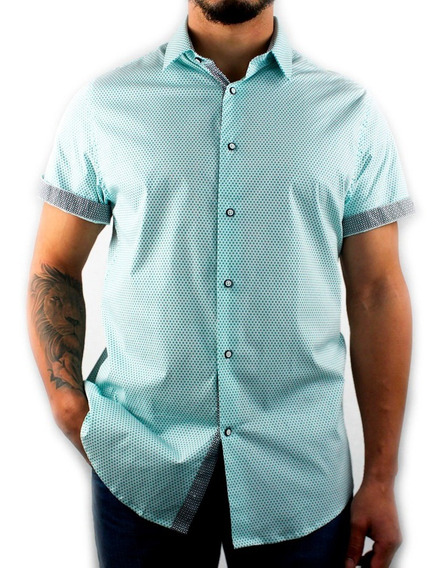 Camisa Para Caballero Manga Corta Estampada Con Lycra
