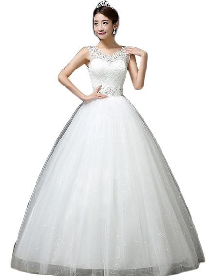 Vestido De Novia Elegante Corte Princesa Encaje Economico