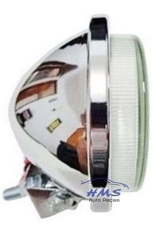 Mini Farol De Milha 92mm Universal Cromado Com Lâmpada (un)