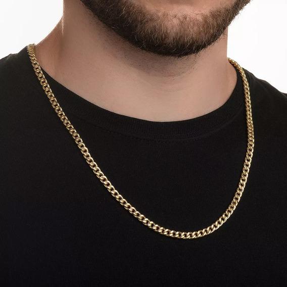 Cordão Banhado A Ouro 24k Groumet 5mm 67cm