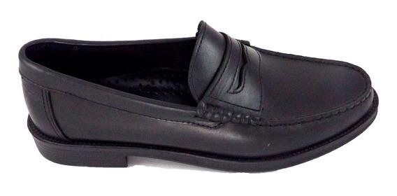 Zapato Mocasín Clásico Con Vincha Negro Talabarteria Crespo