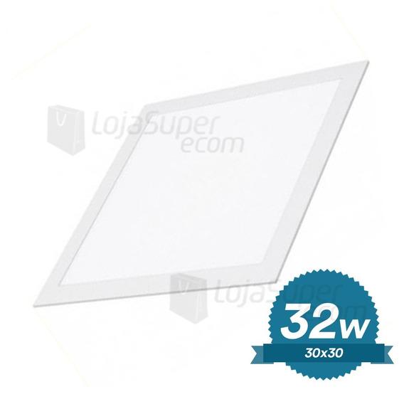5 Luminária Embutir 30x30 Plafon Led 32w Branco Frio