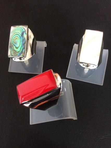 Anel Prata 925 30mm - Abalone / Madrepérola/resina Coral